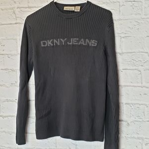 DKNY Black Ribbed Sweater Men's Small